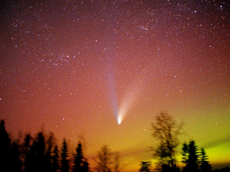 Comet and Northern Lights